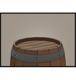 Wooden barrel background with iron rings vector image vector image