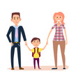 young parents holds little schoolboy by hands vector image