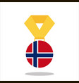 medal with the norway flag isolated on white vector image