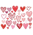 set of hand drawn doodle hearts isolated vector image