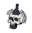 a skull with a bottle a bottle pierces skull vector image