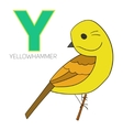 Alphabet letter Y yellowhammer bird vector image