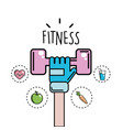 arm with dumbbell and healthy icons vector image vector image