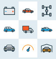 auto icons colored line set with speedometer vector image vector image