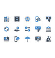 banking icons set black and blue color vector image vector image