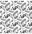 black and white autumn pattern with ashberry vector image vector image