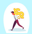 businessman carry back dollar icon male money vector image vector image