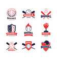 cartoon color baseball insignias icon set vector image