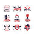 cartoon color baseball insignias icon set vector image vector image
