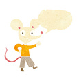 cartoon waving mouse with speech bubble vector image vector image