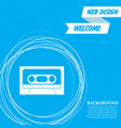 cassette icon on a blue background with abstract vector image vector image