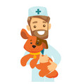 caucasian white veterinarian with dog in hands vector image vector image