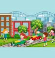 children racing go karts vector image vector image
