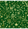 Christmas and New Year golden seamless pattern vector image vector image