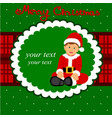 christmas card the child is dressed as santa vector image