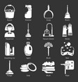 cleaning tools icons set grey vector image vector image