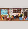 coffee house inside people drinking beverages vector image vector image