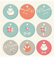 Collection of 9 round Christmas gift tags vector image