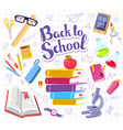 colorful with many school supplies on backgr vector image vector image