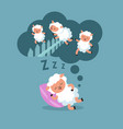 counting sheep to sleep at night jumping lamb to vector image vector image