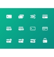 Credit card icons on green background vector image vector image