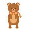 cute bear standing with scarf autumn on white vector image