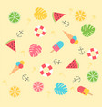 cute colorful summer pattern on yellow background vector image