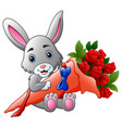 cute little bunny holding a bouquet vector image
