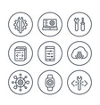 development engineering configuration line icons vector image vector image