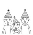 family parents and her kid with party hat holding vector image vector image