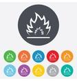 Fire flame sign icon Heat symbol vector image vector image