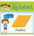 Flashcard letter R is for rhombus vector image vector image