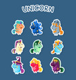 funny cartoon magic unicorns stickers set fashion vector image