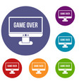 game over icons set vector image vector image