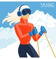 Girl skier on mountain winter landscape background vector image vector image