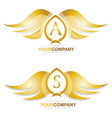 Gold golden wings logo icon set vector image vector image