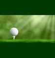 golf ball on tee realistic background vector image vector image
