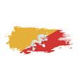 grunge brush stroke with bhutan national flag vector image vector image
