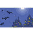 halloween dark castle at night landscape vector image vector image