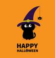 happy halloween black cat silhouette looking to vector image