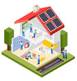 house repair isometric composition vector image vector image