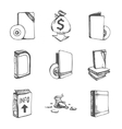 icons set empty books vector image
