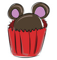 image cupcake with ears - cupcake ears shaped vector image vector image