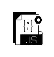 js file black linear icon vector image vector image