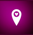 map pointer with heart icon isolated on purple vector image vector image