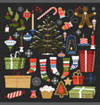 merry christmas traditional symbols and items of vector image vector image