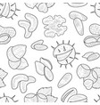 natural nuts and seeds seamless pattern hand drawn vector image vector image