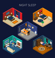 night sleep isometric compositions set vector image vector image