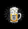 oktoberfest vintage logo badge munich beer vector image vector image