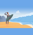 people surfing extreme adventure on ocean coast vector image vector image